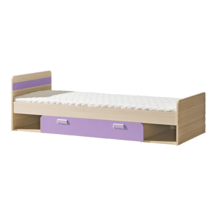 Jednolůžková postel 80 cm - Tempo Kondela - Ego - L13 fialová (s roštem a matrací)