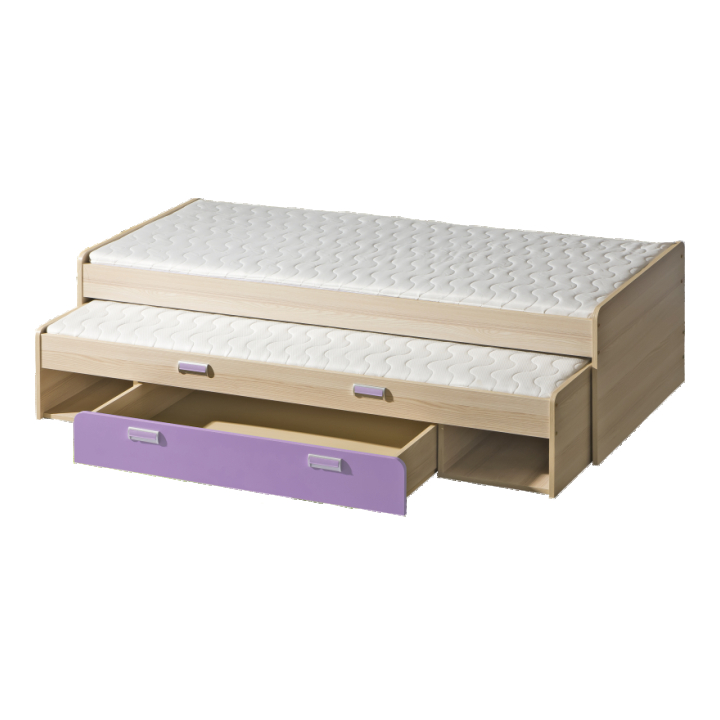 Rozkládací postel 80 cm - Tempo Kondela - Ego - L16 fialová (se dvěma matracíi a rošty)