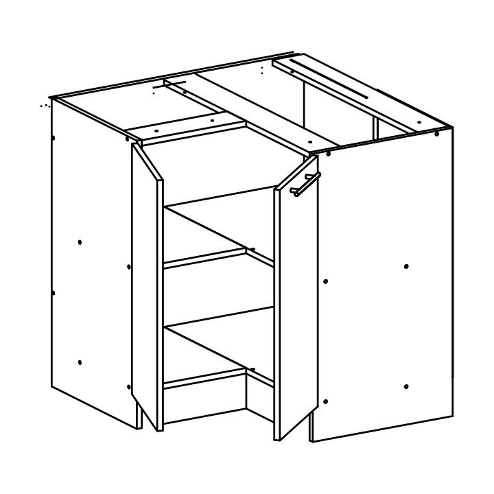 Dolní kuchyňská skříňka, rohová - Tempo Kondela - Fabiana - S-90N