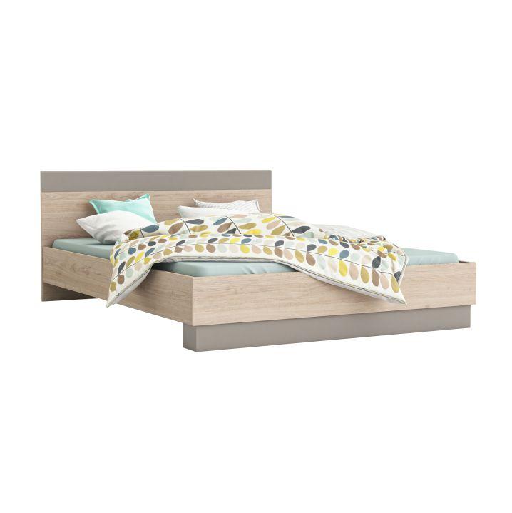 Manželská postel 160 cm - Tempo Kondela - Graphic (dub arizona + šedá)