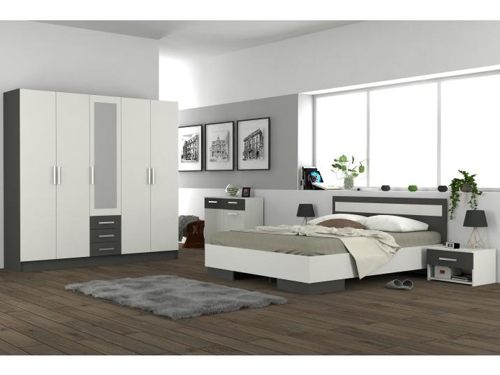 Ložnice - Tempo Kondela - Greyline (grafit + bílá)