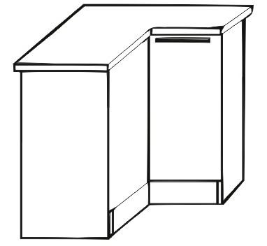 Dolní kuchyňská skříňka, rohová - Tempo Kondela - Irys New - DN-80 P/L
