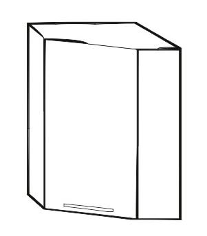 Horní kuchyňská skříňka, rohová - Tempo Kondela - Irys New - GN-60 P/L