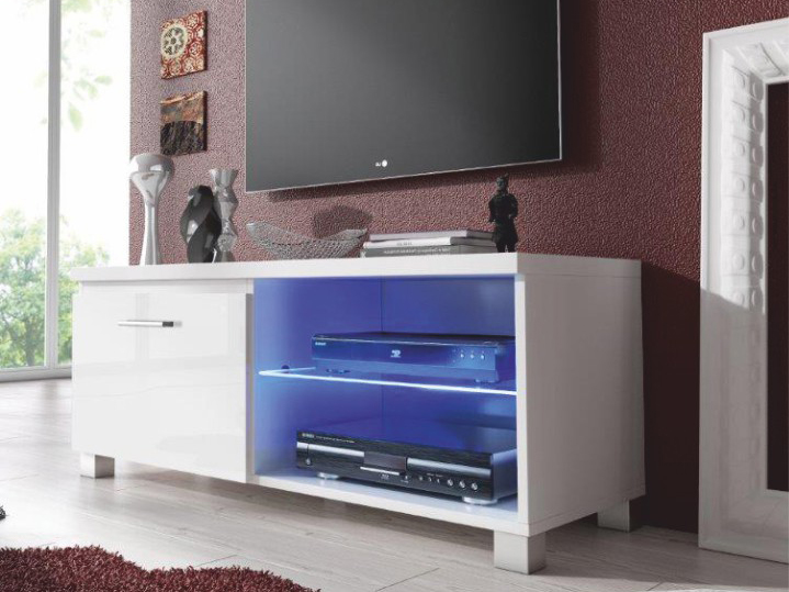 TV stolek/skříňka - Tempo Kondela - Lugo 1 (bílá + extra vysoký lesk bílý) (s osvětlením)