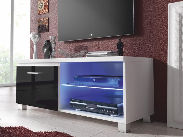 TV stolek/skříňka - Tempo Kondela - Lugo 1 (bílá + extra vysoký lesk černý) (s osvětlením)