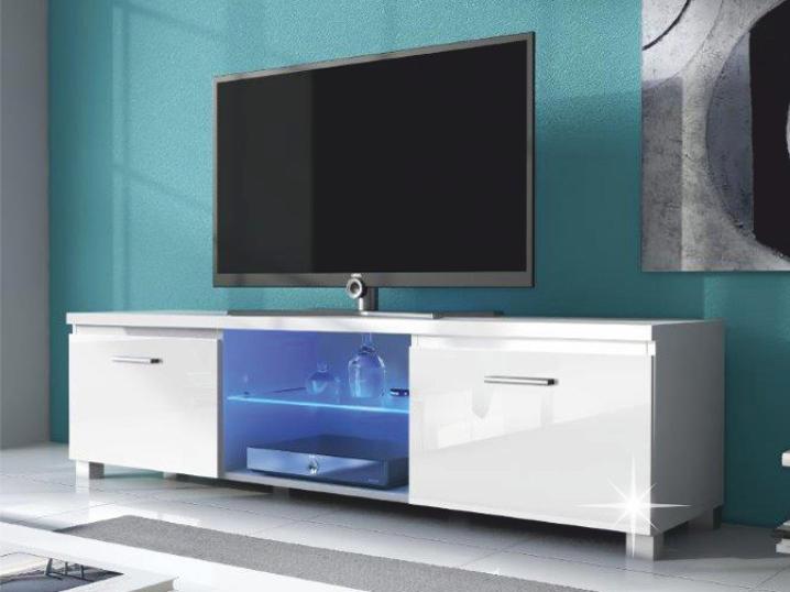 TV stolek/skříňka - Tempo Kondela - Lugo 2 (bílá + extra vysoký lesk bílý) (s osvětlením)