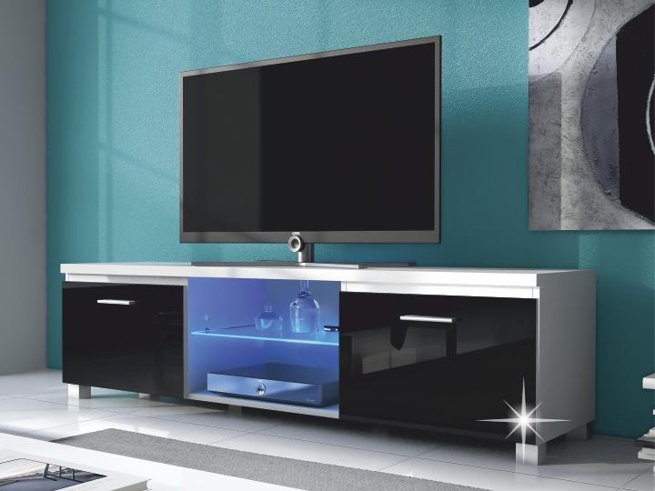 TV stolek/skříňka - Tempo Kondela - Lugo 2 (bílá + extra vysoký lesk černý) (s osvětlením)
