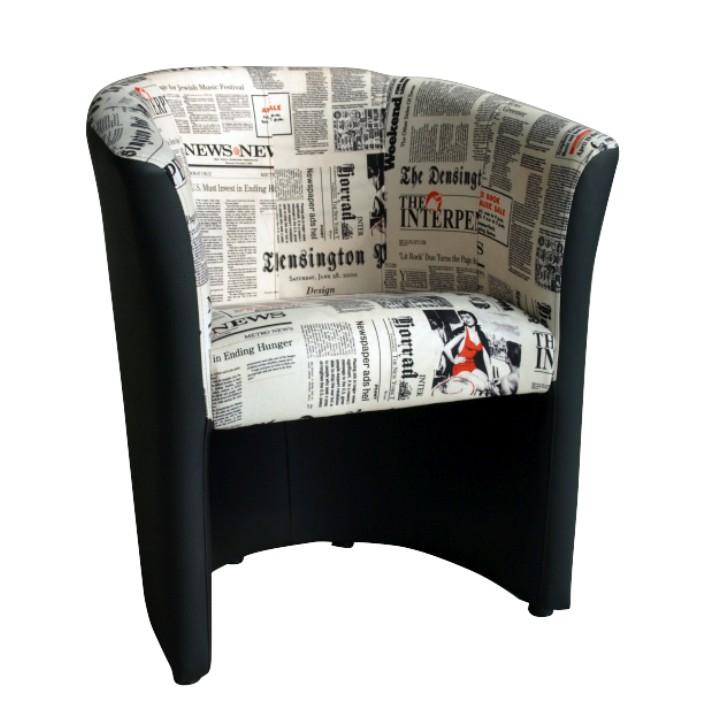 Křeslo - Tempo Kondela - Cuba vzor noviny + černá