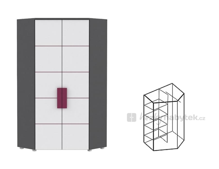 Rohová šatní skříň - Tempo Kondela - Lobete - Typ 89 - LBLS89