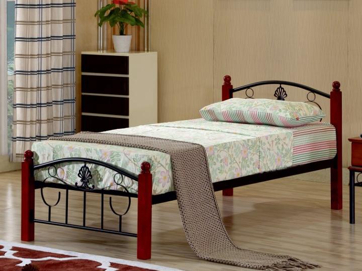 Jednolůžková postel 90 cm - Tempo Kondela - Magenta (s roštem)