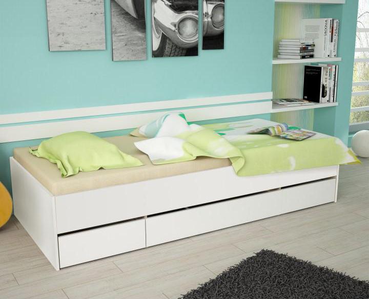 Jednolůžková postel 90 cm - Tempo Kondela - Matiasi (bílá + bílá)