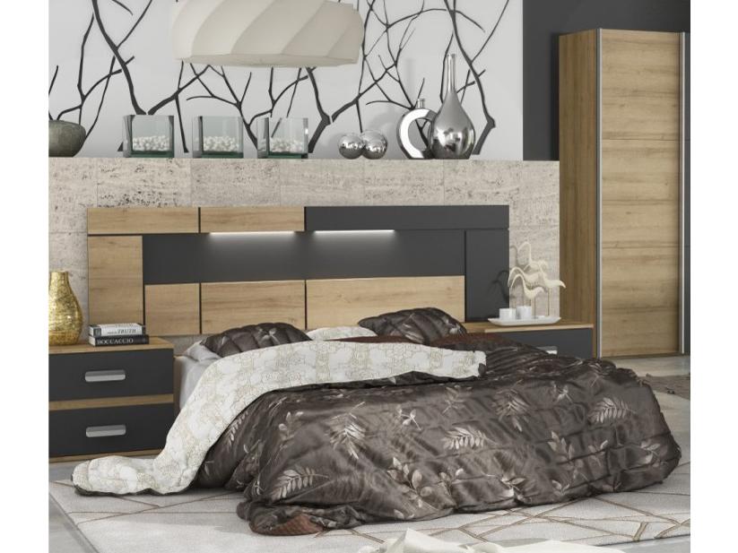 Čelo postele - Tempo Kondela - Misouri (s LED osvětlením) (dub riviera + šedá)