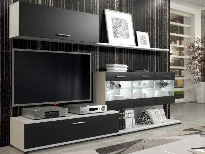 Obývací stěna - Tempo Kondela - Murat (bílá + tmavě šedá) (s osvětlením)