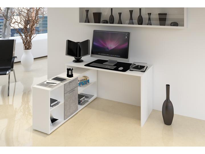 PC stolek - Tempo Kondela - Noe new (bílá + beton)