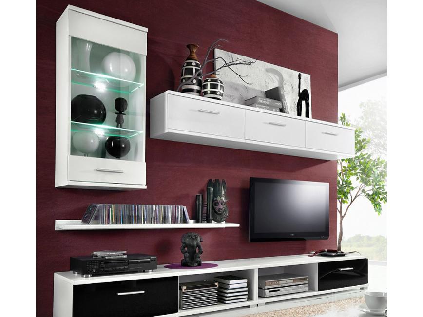 Obývací stěna - Tempo Kondela - Mulibu (bílá+černý lesk)