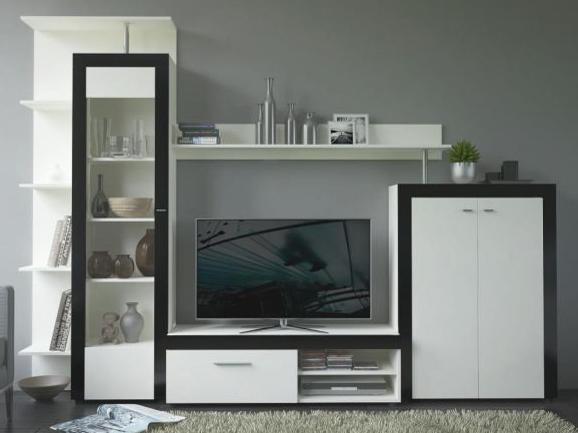 Obývací stěna - Tempo Kondela - Cyntia (perleťová bílá + lesk černý)