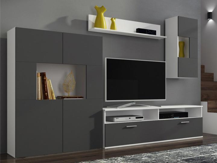 Obývací stěna - Tempo Kondela - Feith (bílá + šedá) (s osvětlením)