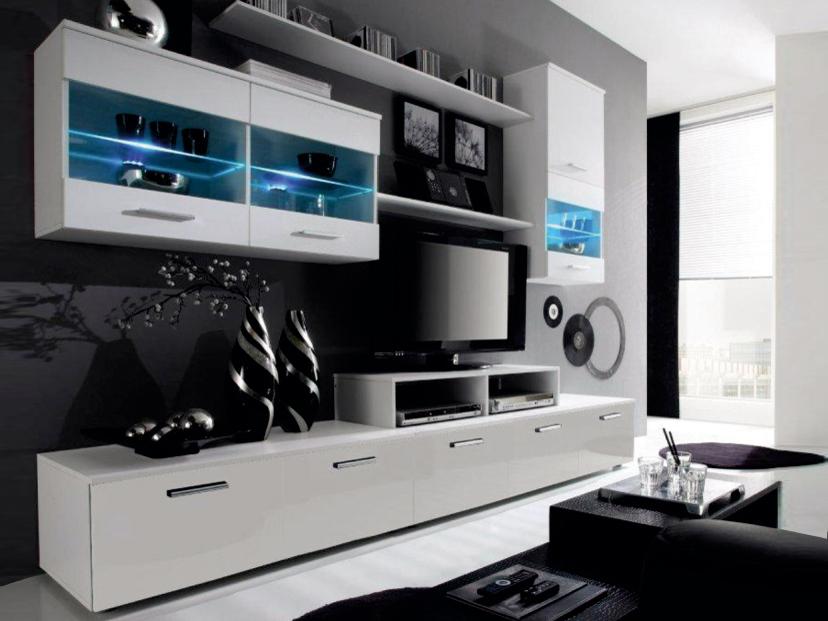 Obývací stěna - Tempo Kondela - Leo bílá (s osvětlením) *masážní přístroj ZDARMA