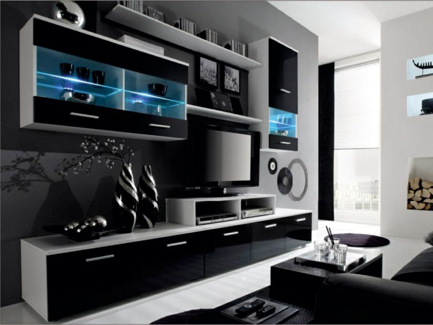 Obývací stěna - Tempo Kondela - Leo bílá + černá (s osvětlením) *masážní přístroj ZDARMA