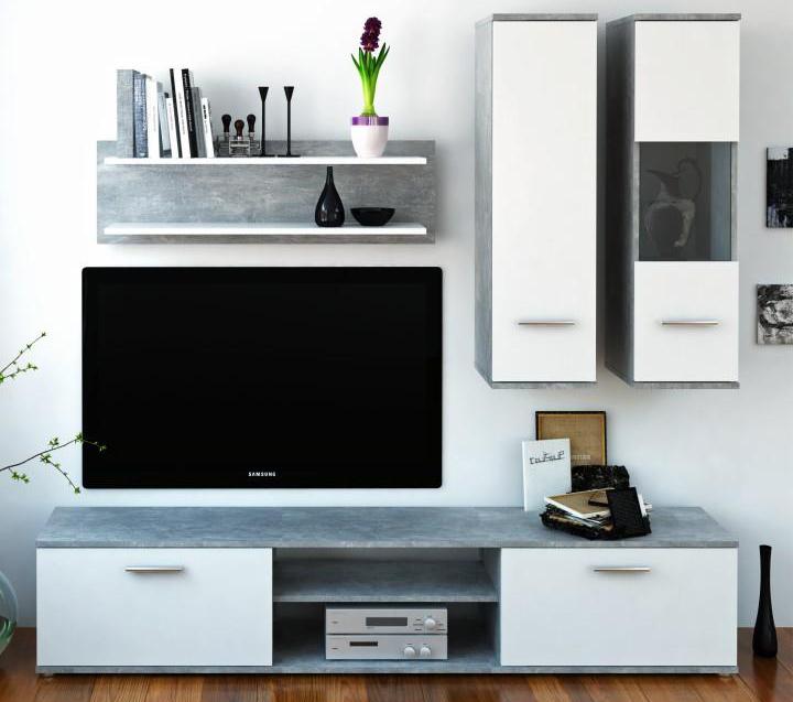 Obývací stěna - Tempo Kondela - Waw (beton + bílá)