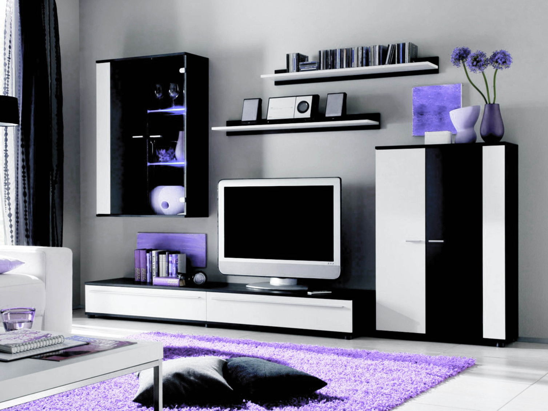 Obývací stěna - Tempo Kondela - CANES (černá+bílá) (s osvětlením)