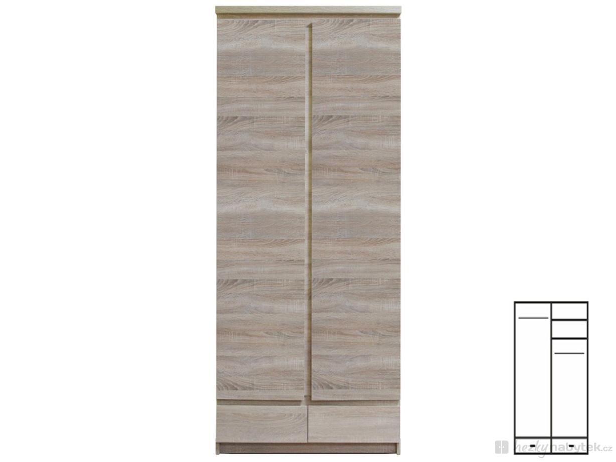 Šatní skříň - Tempo Kondela - Panama - Typ 01 - 2D2S