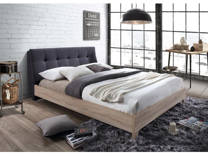Manželská postel 180 cm - Tempo Kondela - Loran (s roštem) (šedá + dub sonoma)