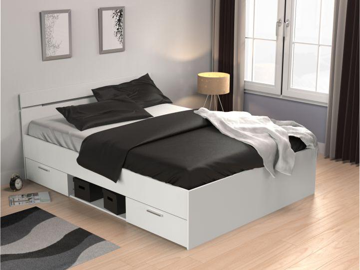 Manželská postel 140 cm - Tempo Kondela - Michigan (bílá)