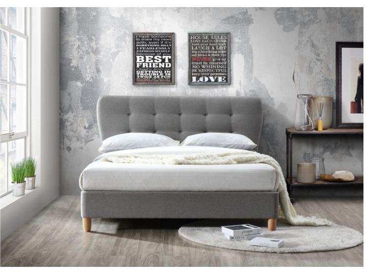 Manželská postel 180 cm - Tempo Kondela - Norika (s roštem) (šedá melír + dub)