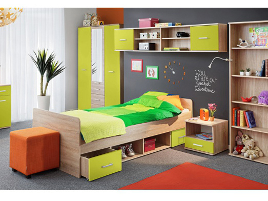 Jednolůžková postel 90 cm - Tempo Kondela - Emio - Typ 04 - Zelená