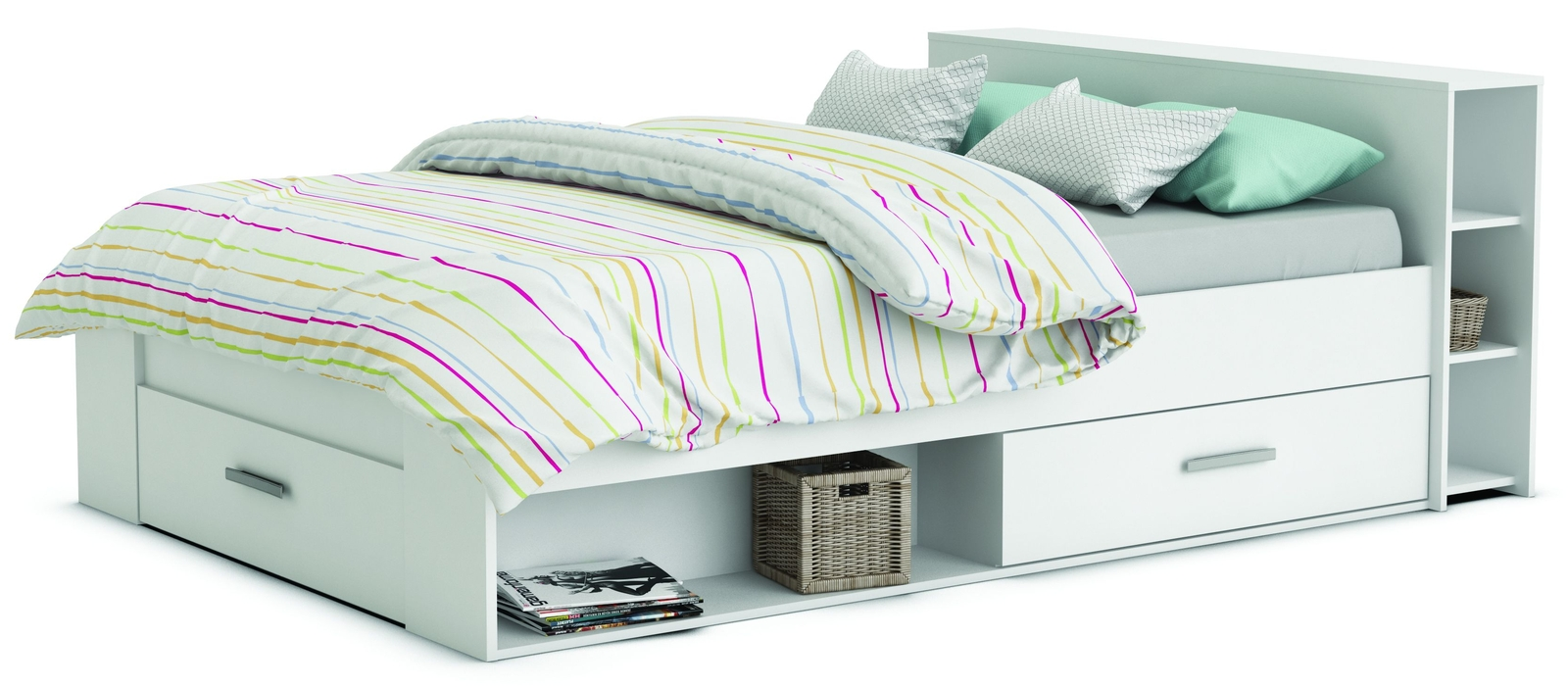 Manželská postel 140 cm - Tempo Kondela - Roket 159574 bílá