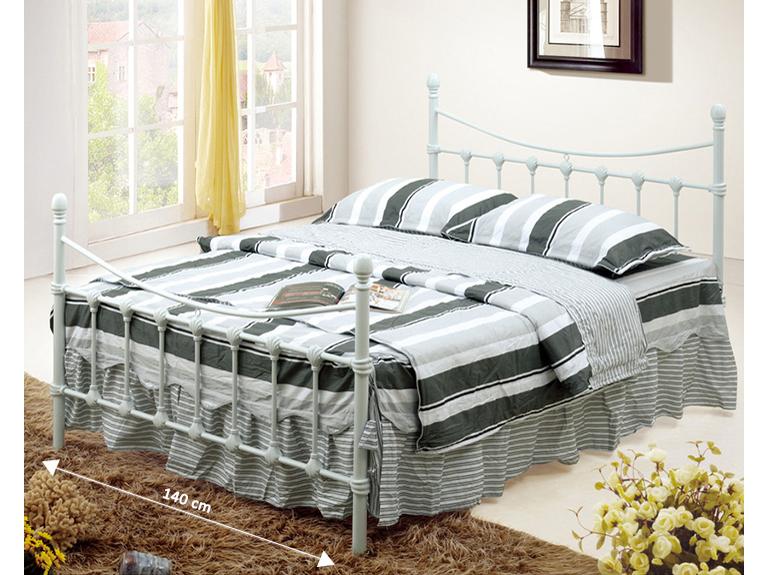 Manželská postel 140 cm - Tempo Kondela - Nieves (s roštem) (bílá)