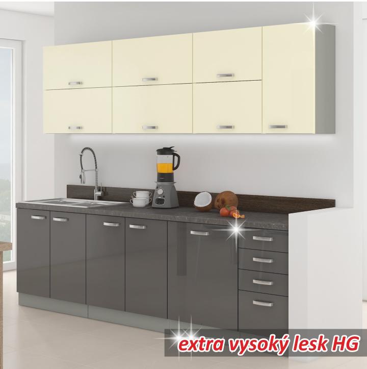 Kuchyně - Tempo Kondela - Prado 260 cm šedá + lesk vysoký šedý/krémový