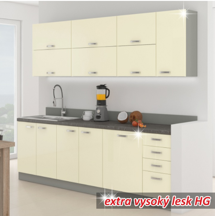 Kuchyně - Tempo Kondela - Prado 260 cm šedá + lesk vysoký krémový