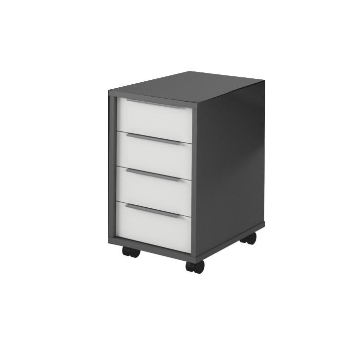 Skříňka na kolečkách - Tempo Kondela - Rioma - typ14 (grafit + bílá)
