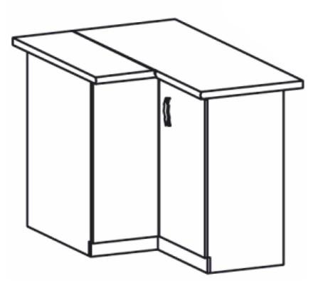 Dolní kuchyňská skříňka, rohová - Tempo Kondela - Royal - D90N