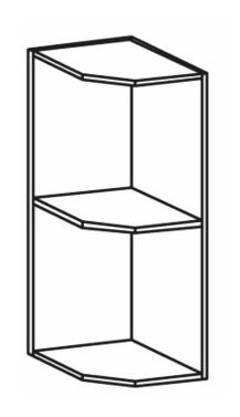 Horní kuchyňská skříňka, rohová - Tempo Kondela - Royal G25PZ/P sosna nordická /dub divoký (P)