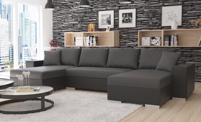 Rohová sedací souprava U - Tempo Kondela - Estevan (černá + šedá) (P)