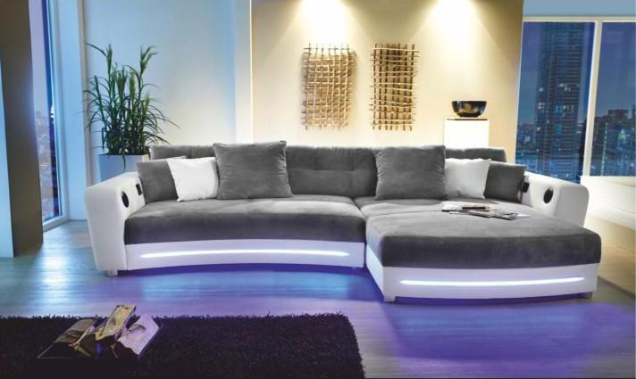 Rohová sedací souprava - Tempo Kondela - Luxlaredo (P) (s audiosystémem a LED)
