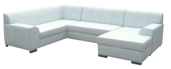 Rohová sedací souprava U - Tempo Kondela - Bazil U bílá (P)