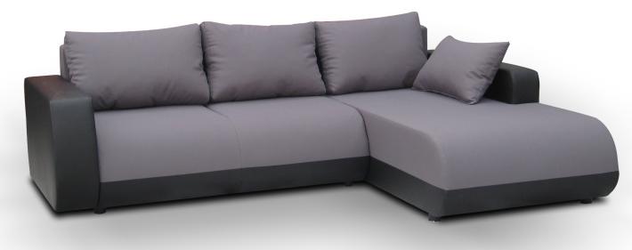 Rohová sedací souprava - Tempo Kondela - Detroit černá + šedá (P)