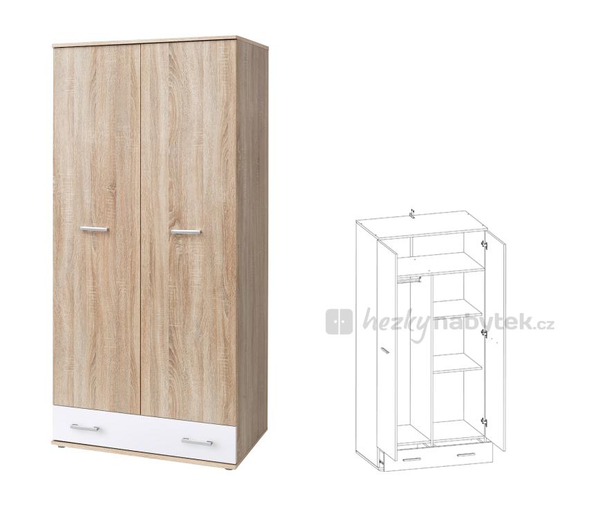 Šatní skříň - Tempo Kondela - Emio - Typ 02 - Bílá