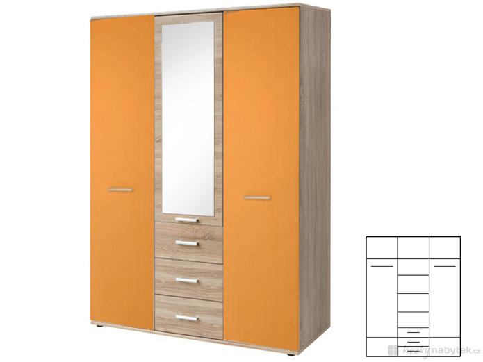 Šatní skříň - Tempo Kondela - Emio - Typ 01 - 3D - Oranžová