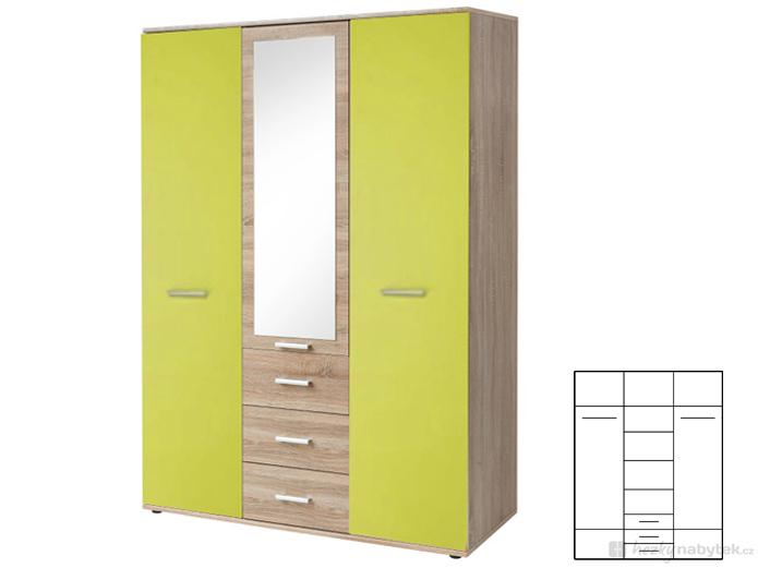 Šatní skříň - Tempo Kondela - Emio - Typ 01 - 3D - Zelená