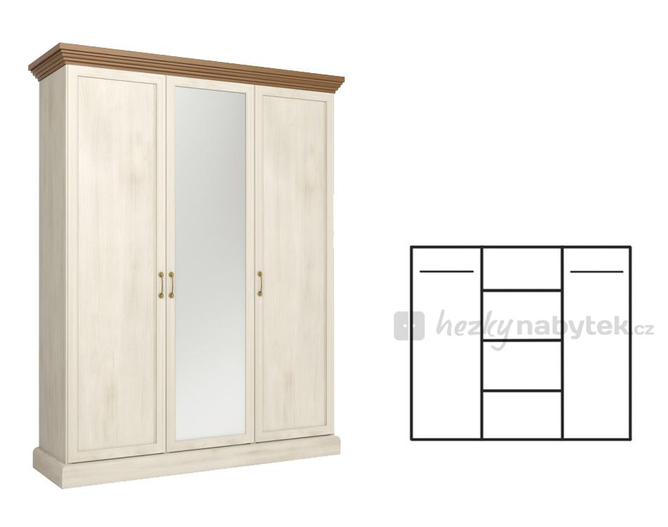 Šatní skříň - Tempo Kondela - Royal - S3D
