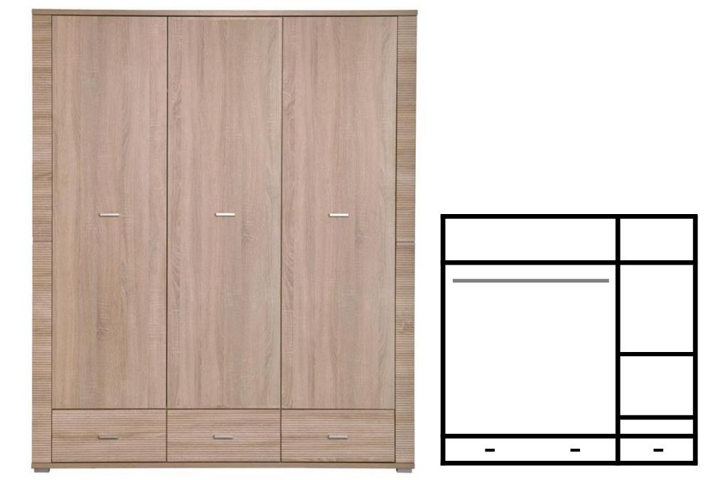 Šatní skříň - Tempo Kondela - Grand - Typ 01 - 3D3S