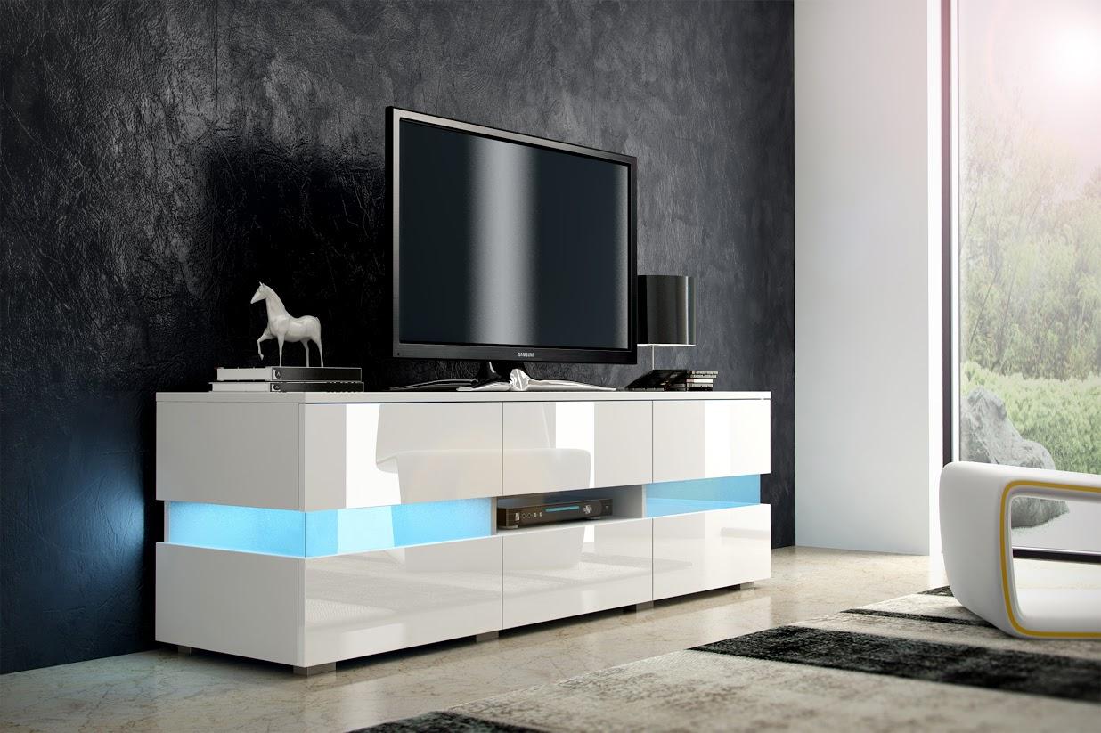 TV stolek - WIP - Inter - bílá + lesk bílý