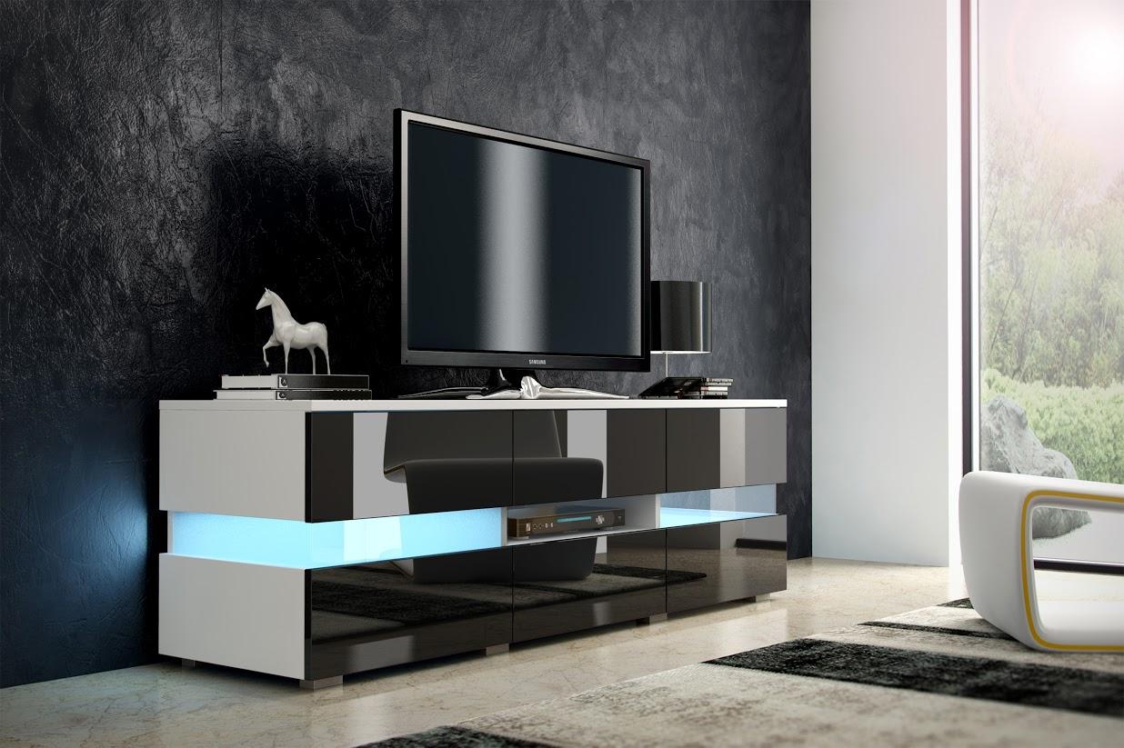 TV stolek - WIP - Inter - bílá + lesk černý