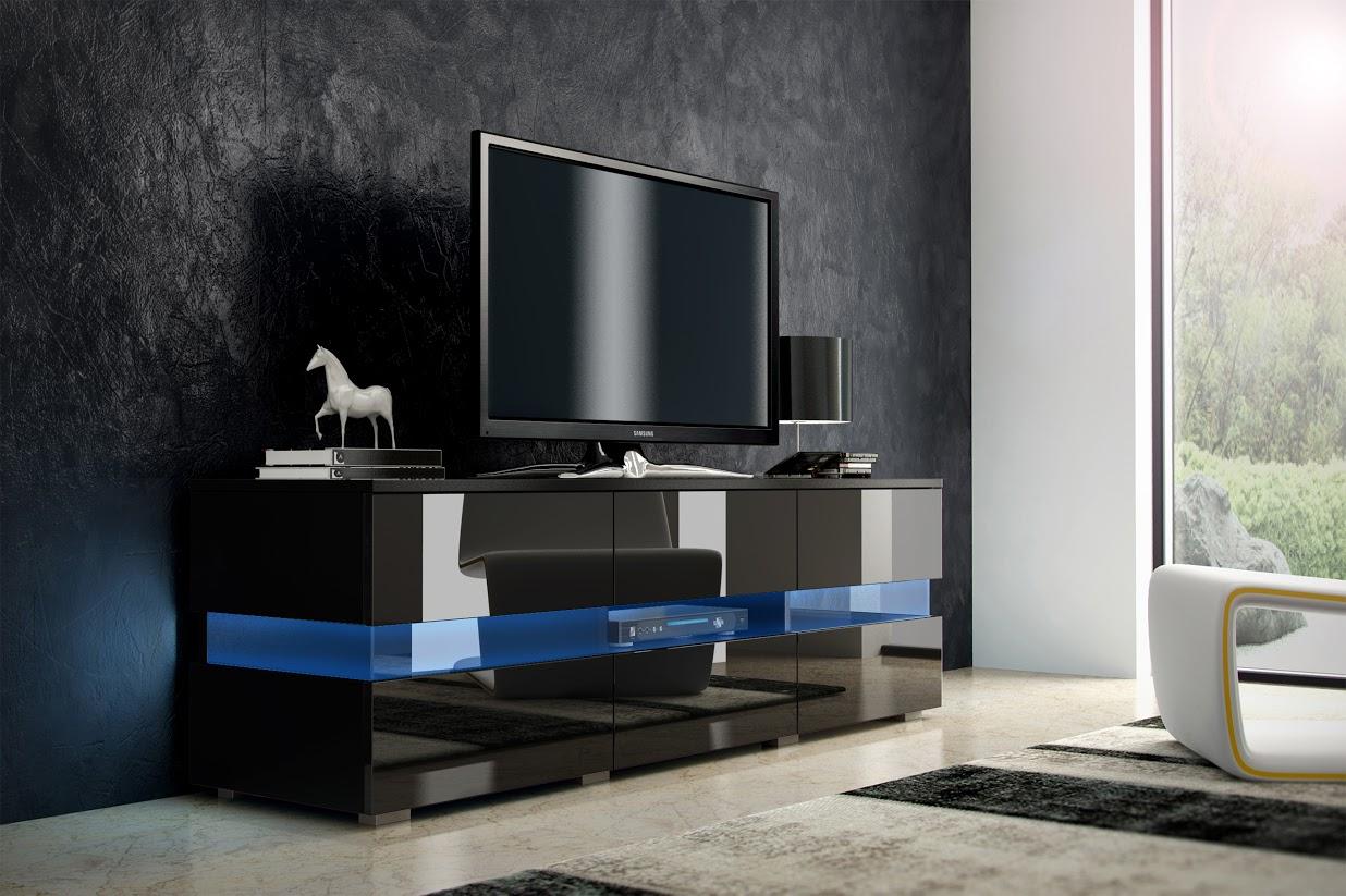 TV stolek - WIP - Inter - černá + lesk černý