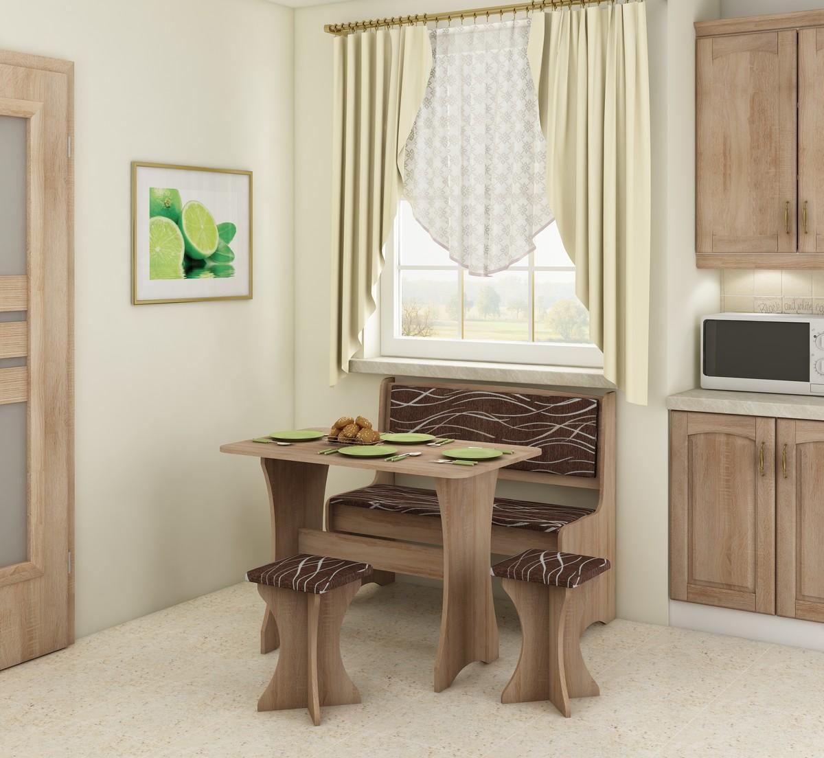 Jídelní set - WIP - dub sonoma světlá + safari (s taburetkami) (pro 4 osoby)